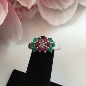Jewelry - Sterling Silver Ring with Emeralds an Ruby's.